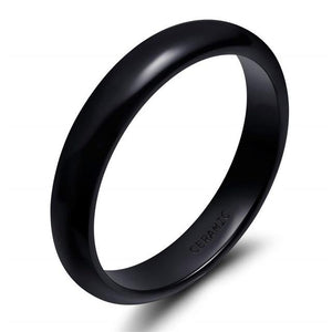 Promise Rings - 4mm Black Smooth Ceramic Unisex Ring (Allergy Free)