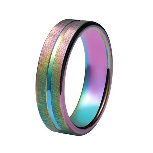 Promise Rings - 4mm Colorful Rainbow Tungsten Mens Ring