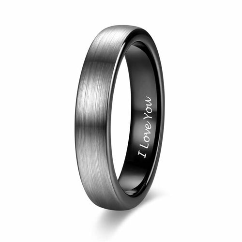 Promise Rings - 4mm I Love You Engraved Black Silver Tungsten Mens Ring