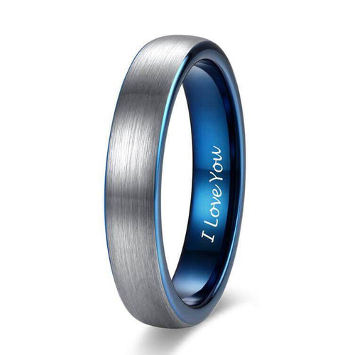 Promise Rings - 4mm I Love You Engraved Blue Silver Tungsten Mens Ring