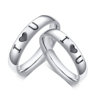 Promise Rings - 4mm I ♡ U Silver Stainless Steel Unisex Ring