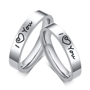 Promise Rings - 4mm I ♡ You Silver Stainless Steel Unisex Ring