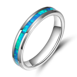 Promise Rings - 4mm Opal Inlay Silver Tungsten Unisex Ring