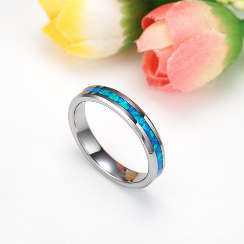 Opal promise rings - 4mm Opal Inlay Silver Tungsten Unisex Ring
