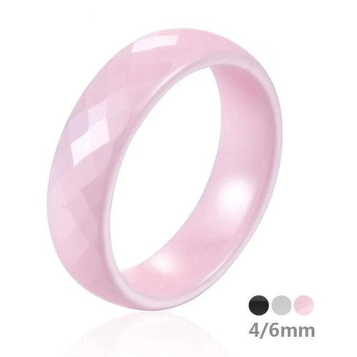 Promise Rings - 4mm or 6mm Pink, White or Black Ceramic Unisex Rings (Allergy Free)