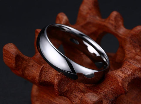 Engagement ring for him - Simple Silver Polished Tungsten Mens Ring