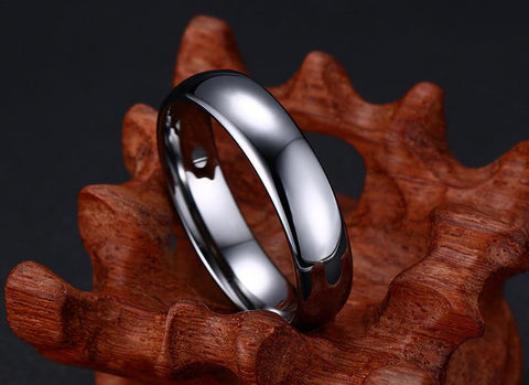 Wedding band for him - Simple Silver Polished Tungsten Mens Ring
