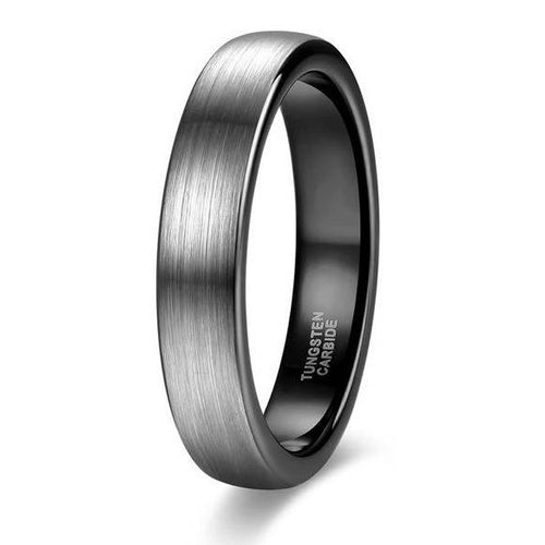Promise Rings - 4mm Personalized Silver Black Tungsten Mens Ring - 1 Custom Engraving (optional)