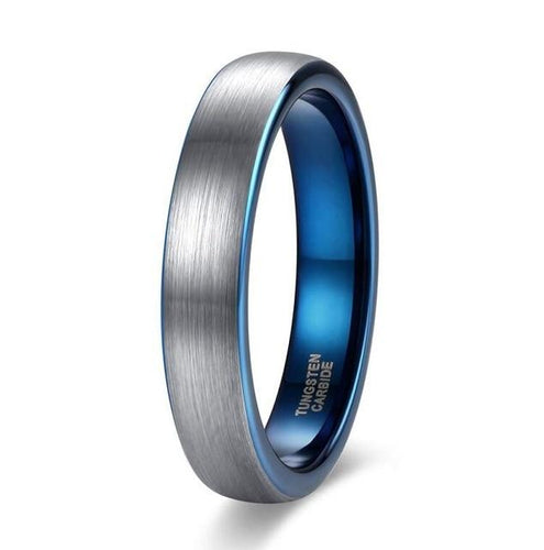 Promise Rings - 4mm Personalized Silver Blue Mens Ring - 1 Custom Engraving (optional)