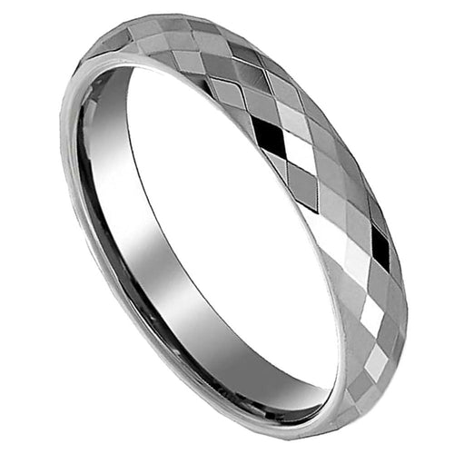 Promise Rings - 4mm Prism Cut Silver Unisex Ring