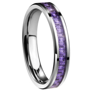 Promise Rings - 4mm Purple Carbon Fiber Inlay Silver Tungsten Womens Ring