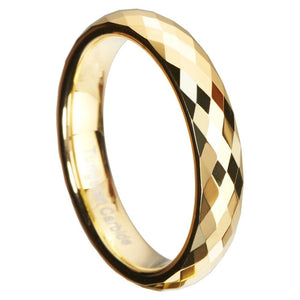 Promise Rings - 4mm Rhombus Cut Gold Color Tungsten Unisex Ring