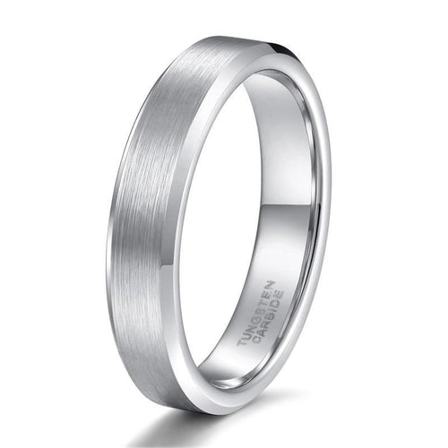 Promise Rings - 4mm Silver Brushed Shiny Beveled Edges Tungsten Unisex Ring