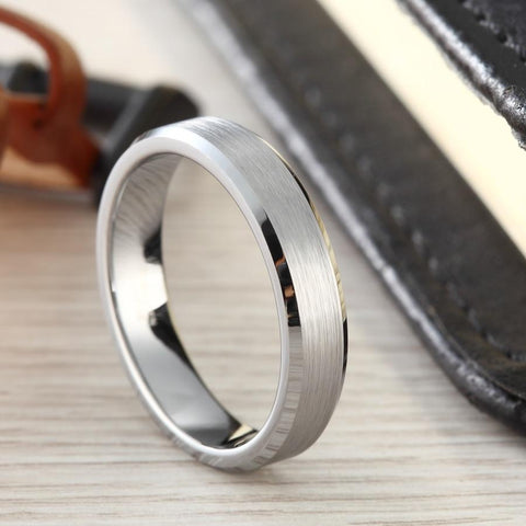 Mens promise ring - 4mm silver matte brushed Tungsten mens ring
