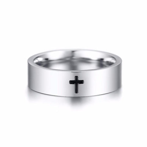 Christian rings - silver stainless steel mens bible crucifixion  cross ring