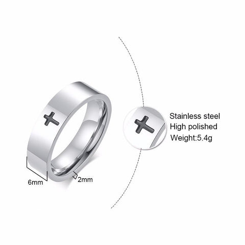 Christian Catholic rings - religious silver stainless steel mens ring