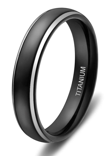 Promise Rings - 4mm Thin Black With Silver Edges Titanium Mens Ring