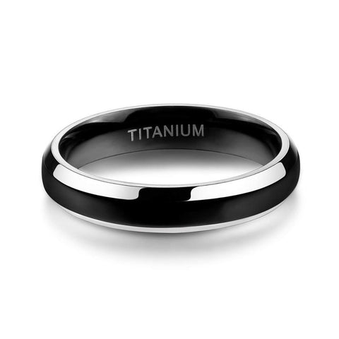 mens promise rings - black and silver titanium mens ring