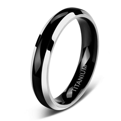 Promise Rings - 4mm Thin Polished Black & Silver Edges Titanium Unisex Ring