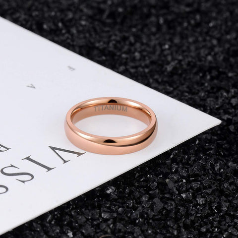 mens promise rings - 4mm simple rose gold titanium mens ring