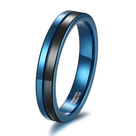 mens promise ring - 4mm blue and black tungsten mens ring