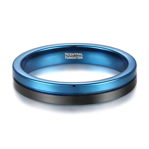 mens engagement ring - 4mm blue and black tungsten mens ring