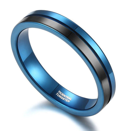 Promise Rings - 4mm Two Tone Blue & Black Tungsten Mens Ring
