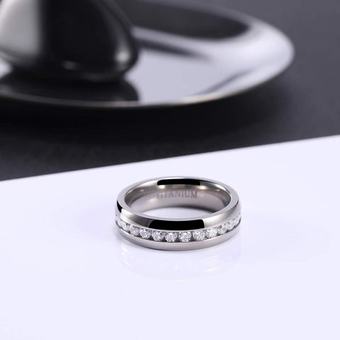 Promise rings for couples - Polished silver titanium womens and mens rings