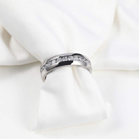 Custom couples rings - cubic zirconia silver titanium couples rings