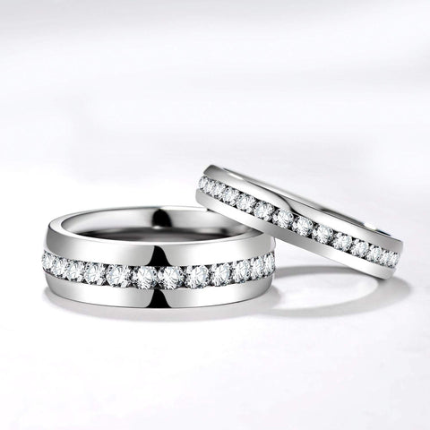 Matching couples rings - cubic zirconia silver titanium couples rings