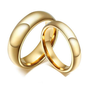 Promise Rings - 4mm/6mm Luxury High Polished Gold Color Couples Rings