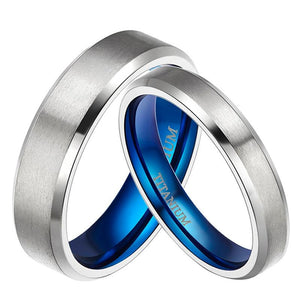 Promise Rings - 4mm/6mm Royal Blue & Silver Titanium Couples Rings (Set/2Pc)