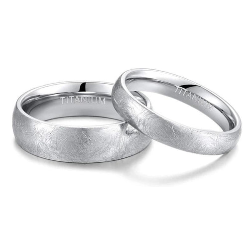 Promise Rings - 4mm/6mm Special Scratch Design Unisex Rings