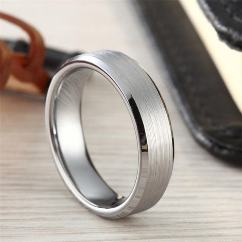 Mens promise ring - silver brushed tungsten mens ring gift
