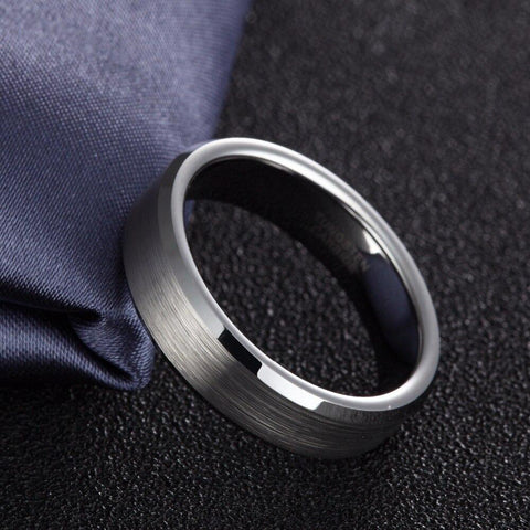 Mens rings - silver brushed tungsten mens ring gift