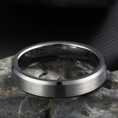 Mens engagement ring - silver brushed tungsten mens ring gift