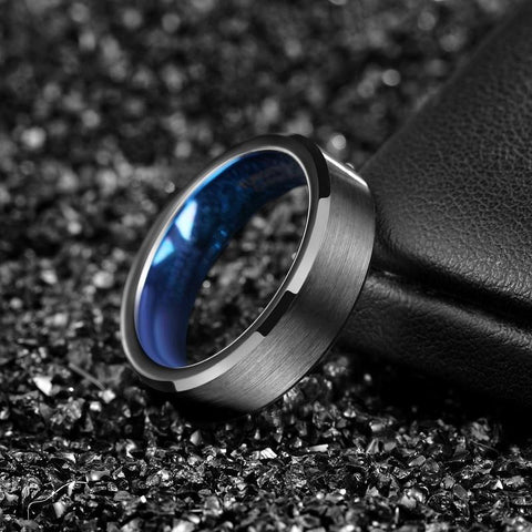 mens promise rings - black and blue tungsten mens ring with custom engraving