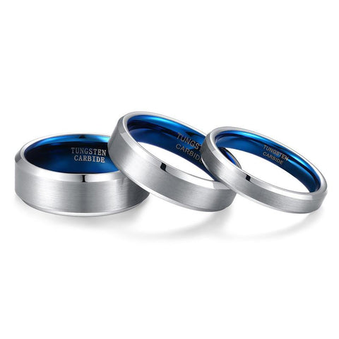 mens promise rings - silver and blue tungsten mens ring with custom engraving