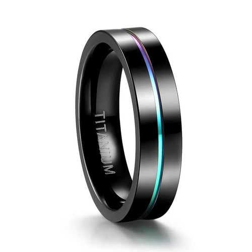 Promise Rings - 5mm Colorful Inlay Black Titanium Mens Ring