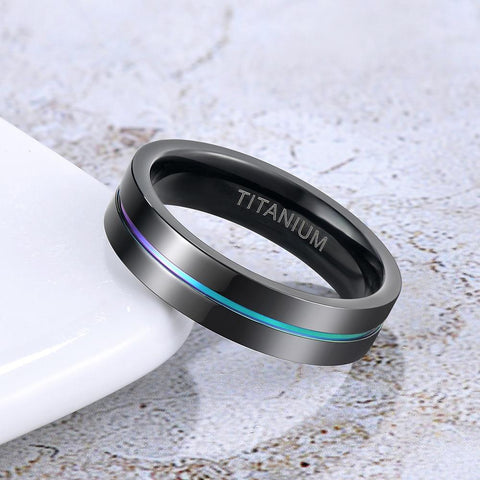 Mens promise rings - Rainbow and black Titanium mens ring gift for him