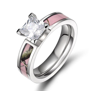 Promise Rings - 5mm Cubic Zirconia Nature Camo Pink Titanium Womens Ring