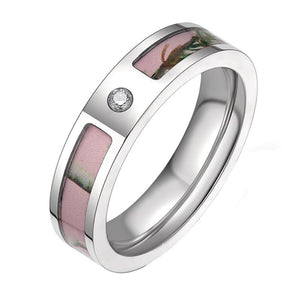 Promise Rings - 5mm Cubic Zirconia Pink Forest Tree Camo Titanium Womens Ring