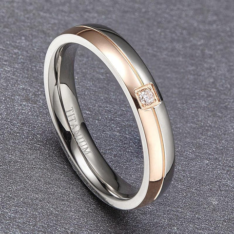 Mens promise rings - rose gold and silver male ring gift for him