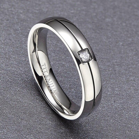 Promise rings for men - cubic zirconia silver Tungsten mens ring with custom engraving