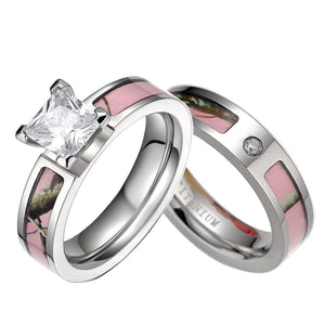 Promise Rings - 5mm Pink Tree Camo Inlay Titanium Couple Rings (Set/2Pc)