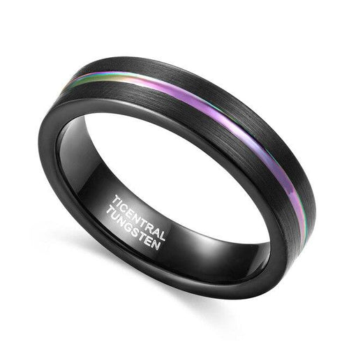 Promise Rings - 5mm Rainbow Groove Black Unisex Tungsten Ring