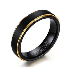 Promise Rings - 5mm Thin Black and Gold Plated Tungsten Mens Ring