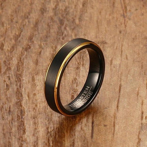 Rings for him - 5mm Black and gold Tungsten mens ring