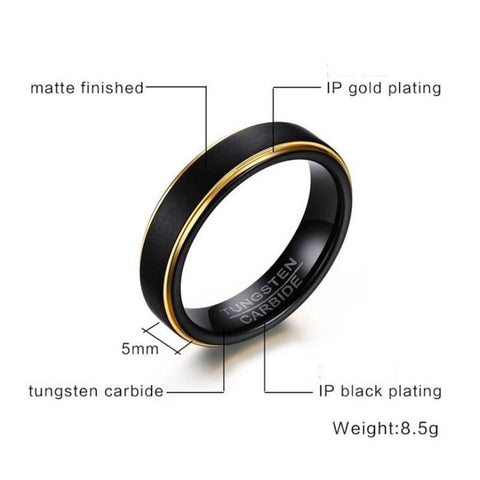 Engagement rings for men - 5mm Black and gold Tungsten mens ring