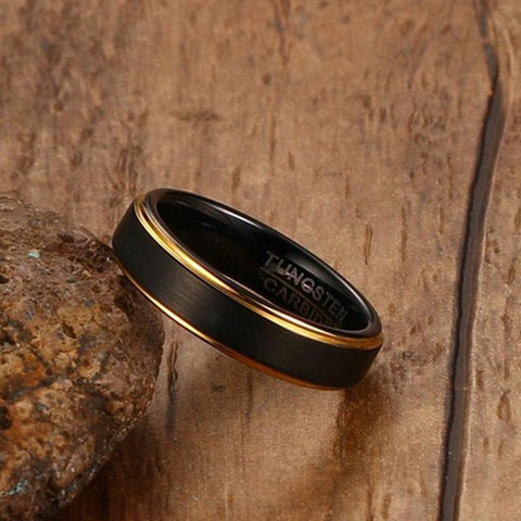 Promise rings for him - 5mm Black and gold Tungsten mens ring
